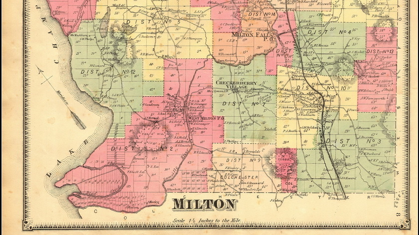 Milton Old Map Print 16x9